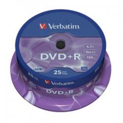 VERBATIM DVD+R 4.7GB 16X 43500 AZO MATSILVER SPINDLE 25/200