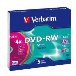 VERBATIM DVD-RW 4.7GB 4X PASTEL 43563/43562