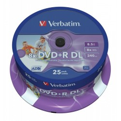 VERBATIM DOUBLE LAYER PRINTABLE 8.5GB DVD+R DL 8X 43667
