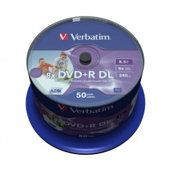 VERBATIM DVD+R PRINTABLE 8.5GB DVD+R DL 8X 43703
