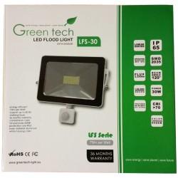 GREEN TECH CO.LTD. CHINA LED SMD REFLEKTOR 30W+SENZOR POKRETA 6000K/2250LM/230V
