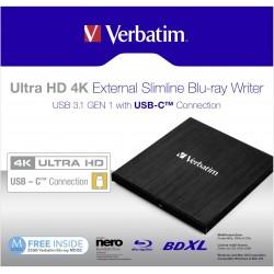 VERBATIM BLU-RAY REZACI ULTRA HD4K EXTERNI BLU-RAY USB-C CRN+SOFTWARE