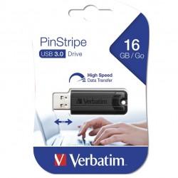 VERBATIM USB FLASH MEMORIJE 16GB DRIVE 3.0 PINSTRIPE BLACK 49316