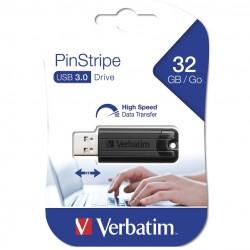 VERBATIM USB FLASH MEMORIJE 32GB DRIVE 3.0 PINSTRIPE BLACK 49317
