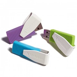VERBATIM USB FLASH MEMORIJE 2.0 DRIVE 8GB/SWIVEL 3PAK BLUE/GREEN/VIOLET